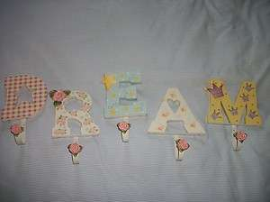 Home Interiors LETTERs HOOKS D R E A M cottage rose pink hearts stars