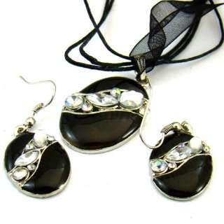 H8055 Black Rhinestone Gemstone Enamel & Alloy Oval Necklace Earring