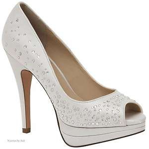 White or Ivory Platform Heels Pumps Shoes Crystal Brianna Leigh