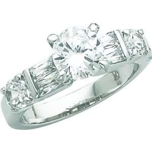 Sterling Silver Cubic Zirconia Engagement Ring Sz 6 Jewelry