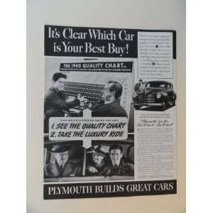 1940 Plymouth car. Vintage 40s full page print ad. (1940