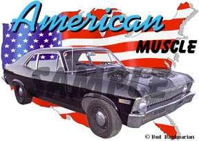 1969 Black Chevy Nova SS Custom Hot Rod USA T Shirt 69