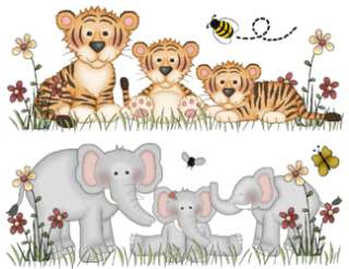 JUNGLE SAFARI ANIMALS BABY NURSERY WALL STICKERS DECALS