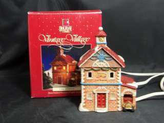 Holiday Time Vintage Village Fire Station Figurine