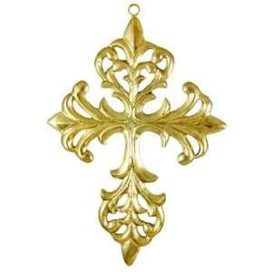 Ornate Brass Filigree Christian Cross Wall Hanging