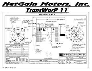 TransWarP 11, 43.7 Max HP, DC, Electric Motor, 72 Volt, 135 ft lbs, EV