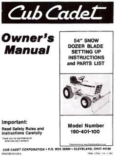 Cadet 54 inch Dozer Blade Dirt Snow Setting Up and Parts Manual