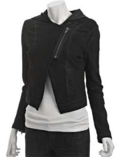 Bird black laminated fleece asymmetrical zip hoodie   up to 70