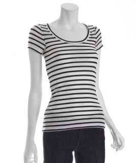 BCBGMAXAZRIA white and black striped jersey Ashlyn short sleeve t