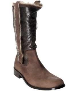John Varvatos brown 2 tone fur trim boots