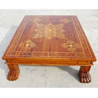 Solid Wood Inlaid Work Cocktail Coffee Table Living Room Furniture NEW