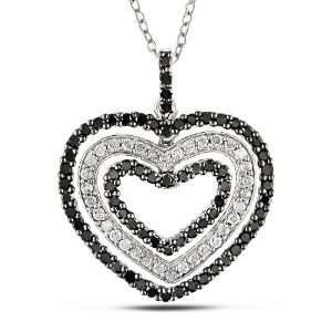 Sterling Silver 1 CT TDW Black and White Diamond Heart Pendant (H I