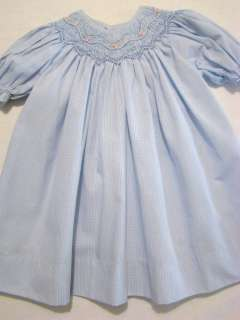 PETIT AMI BISHOP SMOCKED BLUE GINGHAM BEADED DRESS 9M,12M,18M, 24M~NEW