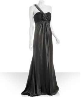 Marc Bouwer GlamIt graphite silk one shoulder jeweled gown