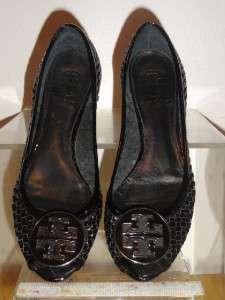 Basket Weave Black Patent Wedge Peep Toe Shoe Shoes Size 6M 6 M