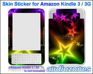 Vinyl Skin Sticker Art Decal Sparkling Star for  Kindle 3 Wi Fi