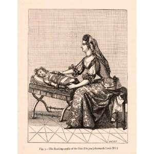 1876 Wood Engraving Rocking Cradle Duc Anjou Louis XV