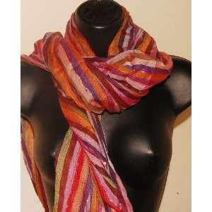 Hand Painted Cotton Scarf w/ Fall Colors: Everything Else