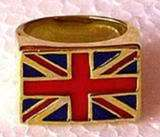 Polished BRONZE Union Jack Flag Ring PUNK ROCK