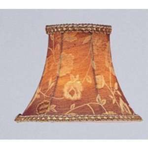 S123 Chandelier Shade Burgundy Floral Bell Clip Shade with Fancy Trim
