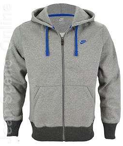 Mens Full Zip Hooded Jacket Sweatshirt Fleece Lined Hoodie Grey Top