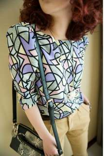 RETRO STYLISH BOLD PATTERN BLOUSE PURPLE XS/S