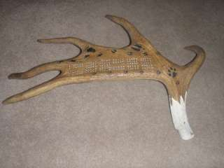 CRIBBAGE GAME BOARD MOOSE ANTLER EAGLE HEAD CARVING, BEAR. DEER. WOLF