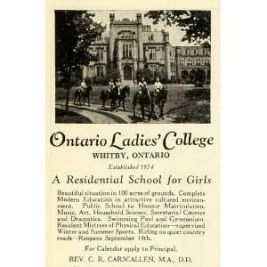 1938 Ad Ontario Ladies College Whitby Canada Residential School Girls