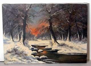 de Winter Snow Scene Woodland Sunset Oil Painting