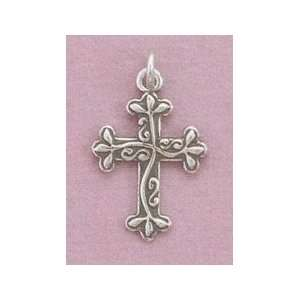 Oxidized Sterling Silver Reversible Cross Charm, 7/8 inch