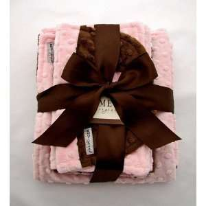 Pink and Brown Baby Girl Minky Dot Gift Set Baby
