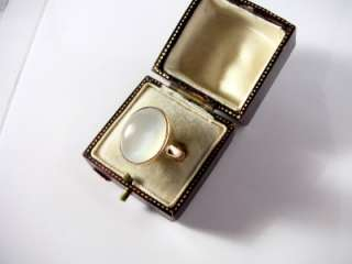 ANTIQUE 9CT ROSE GOLD LARGE MOONSTONE RING / CHES 1923