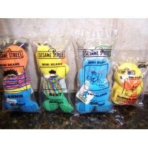 1999 Sesame Street Set of 4 Kelloggs Mini Beans Collectible Plush (NEW