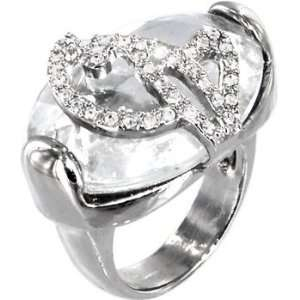 BABY PHAT Silver Tone CRYSTAL STONE Kitty Ring