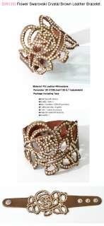 BR2039/Flower Swarovski Crystal Black Leather Bracelet