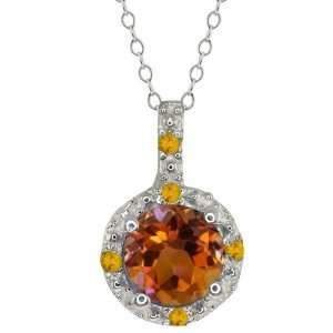 Round Orange Mystic Topaz and Yellow Citrine Sterling Silver Pendant