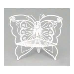 Dollhouse Miniature White Wire Butterfly Corner Chair