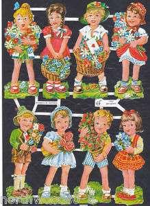 CHILDREN FLOWERS BOYS GIRLS SCRAP PAPER CUT ART GERMAN