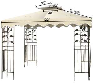 10x10ft Scalloped Edge Gazebo Canopy Top Tent Patio Garden Replacement