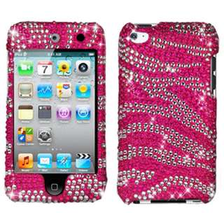 Ipod Touch 4G 4th Gen Pink Zebra Bling Hard Case Cover +Screen