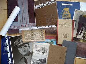Group of antique and vintage Military WW2 war items, U.S. Army books