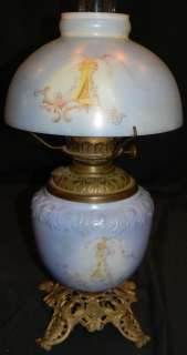 ANTIQUE 1890s MILK GLASS PARLOR LAMP W HALF MOON SHADE