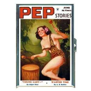 PEP STORIES PIN UP LEOPARD SKIN DRUM ID Holder, Cigarette