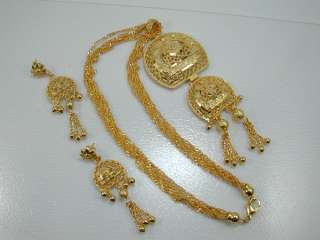 STUNNING DUBAI EAST INDIA 22K 24K Gold gp Baht Earrings Necklace SET
