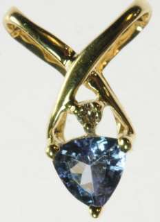 YELLOW GOLD TANZANITE TRILLION DIAMOND ESTATE PENDANT J196093