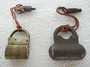 Old Lot Of 2 Iran & Brass Screw Type Pad Lock, Bullef Shape