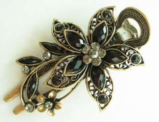 VARY COLORS SWAROVSKI CRYSTAL BIG BRONZE FLOWER HAIR BARRETTE CLIP 779