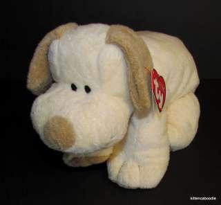 Ty Pluffies Plopper SEWN EYES Tan Cream Stuffed Dog Puppy Baby Plush