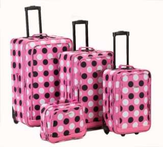 Deluxe Pink Polka Dot 4 piece Expandable Luggage Suitcase Set