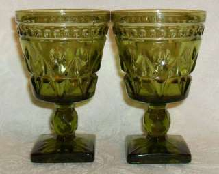 Colony PARK LANE Olive Green Wine Glasses 2